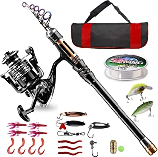 BlueFire Fishing Rod and Reel Combos Telescopic Fishing Rod Kit with Spinning Reel, Fishing Line, Lure, Hooks and Carrier ...