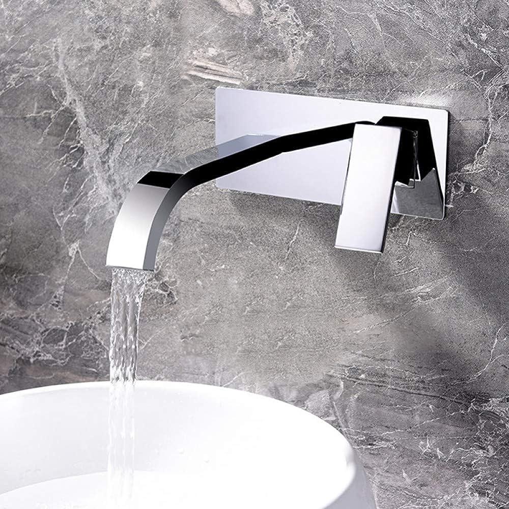 全滅させる緊張拒絶ZT-TTHG 水タップシングルハンドルの蛇口シンク真鍮流域水栓ウォールは滝シンク蛇口クローム仕上げ浴室組み込みボックスミキサータップ隠しタップをマウント