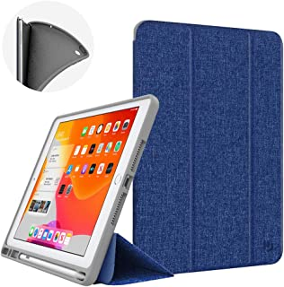 Dadanism New iPad 10.2 Case 2019, iPad 7th Generation Case with Pencil Holder (10.2 inch) - [Strong Protection] Ultra Slim Shockproof Soft TPU Back Stand Smart Cover, Auto Sleep/Wake - Denim Indigo
