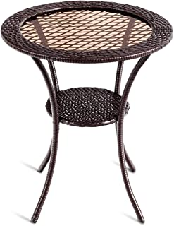 "Tangkula 25"" Patio Wicker Coffee Table Outdoor Backyard Lawn Balcony Pool Round Tempered Glass Top Wicker Rattan Steel Frame Table Furniture W/Lower Shelf"