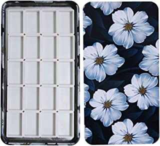 FCLUB Watercolor Palette Paint Tin Case with 20pcs White Plastic Empty Watercolor Full Pans Carrying Magnetic Squares- Artists Paint Palette for DIY Watercolor Travel Palette, Acrylics Painting