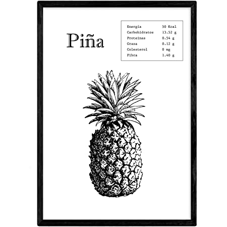 Nacnic Poster de Piña. Láminas de frutas y verduras. Tamaño A3 con marco