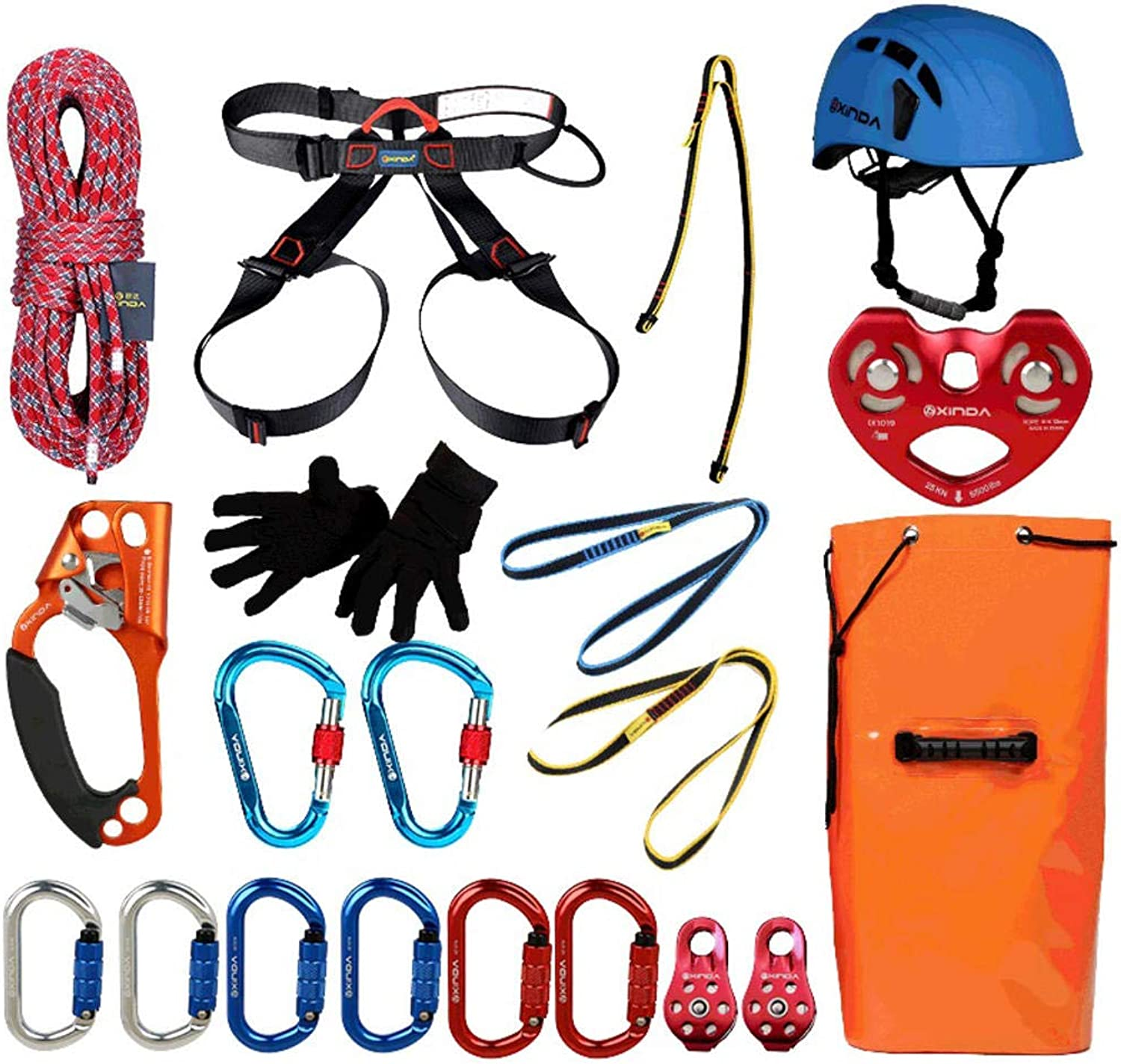 Rock Climbing Kit Outdoor Tight Rope System Strops Pulley Jungle Leap Through The Tree Adventure Equipment  21 Pieces