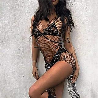 RSBCSHI Maillot de Bain Diamant, Mesdames Sexy Knit Breaky Open-Openwork Robe, Convient à la Plage et à la Piscine (Color...