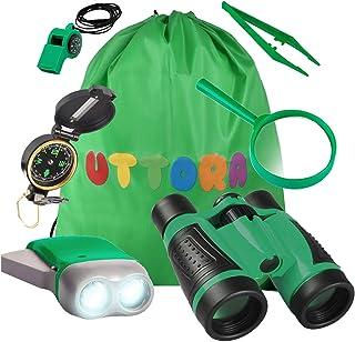 UTTORA Ensemble Jumelles Enfant Jouet, Kit Exploration d'enfants Jouets d'Extérieur avec Boussole Loupe Collecteur , Excel...