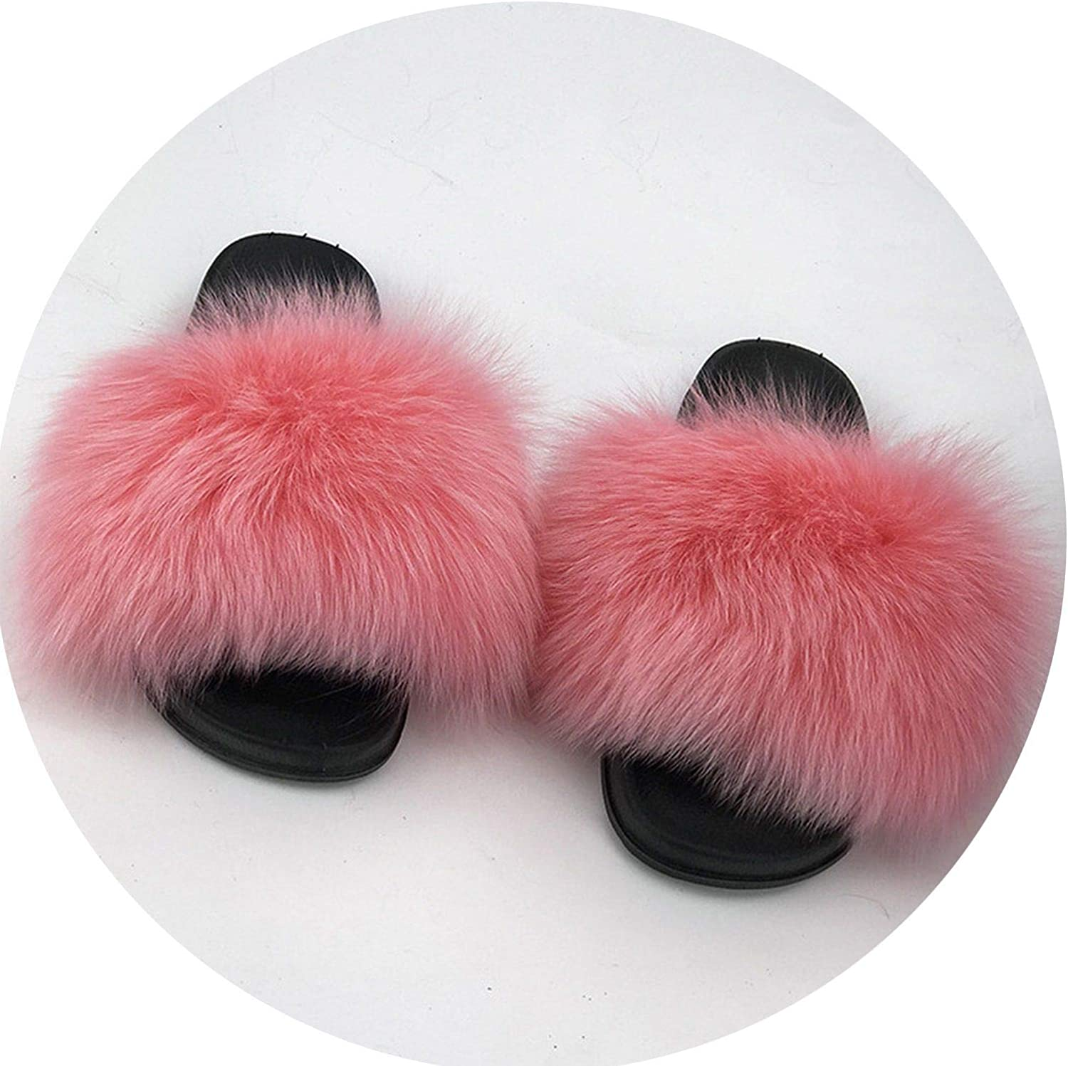 Maggilee Real Raccoon Fur Slippers Women 2018 Sliders Casual Fox Hair Flat Fluffy Fashion Home Summer Big Size 45 Furry Flip Flops shoes,5,9
