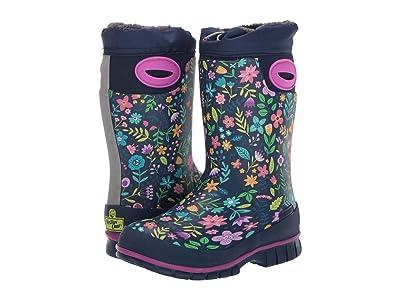 Western Chief Kids Folksy Floral Winterprene Boot (Toddler/Little Kid/Big Kid) (Navy) Girls Shoes