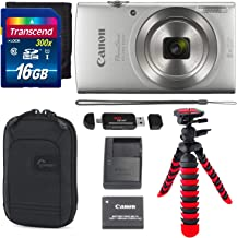 Canon PowerShot ELPH 180 Digital Camera with is and Smart AUTO Mode (Silver), Transcend 16GB Memory Card, Camera Case and Premium Accessory Bundle