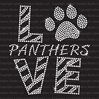 Love Panthers Clear Iron On Rhinestone Crystal T-Shirt Transfer by JCS Rhinestones