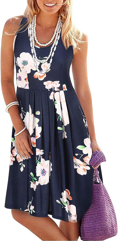 TavorptDressesforWomen,Women'sCasualSummer O-Neck Pleated Print Floral MiniDressShortBohoDressBeachSundress