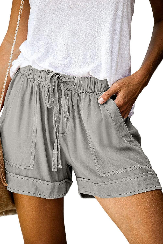 CILKOO Womens Comfy Drawstring Casual Elastic Waist Pocketed Shorts(S-XXL)