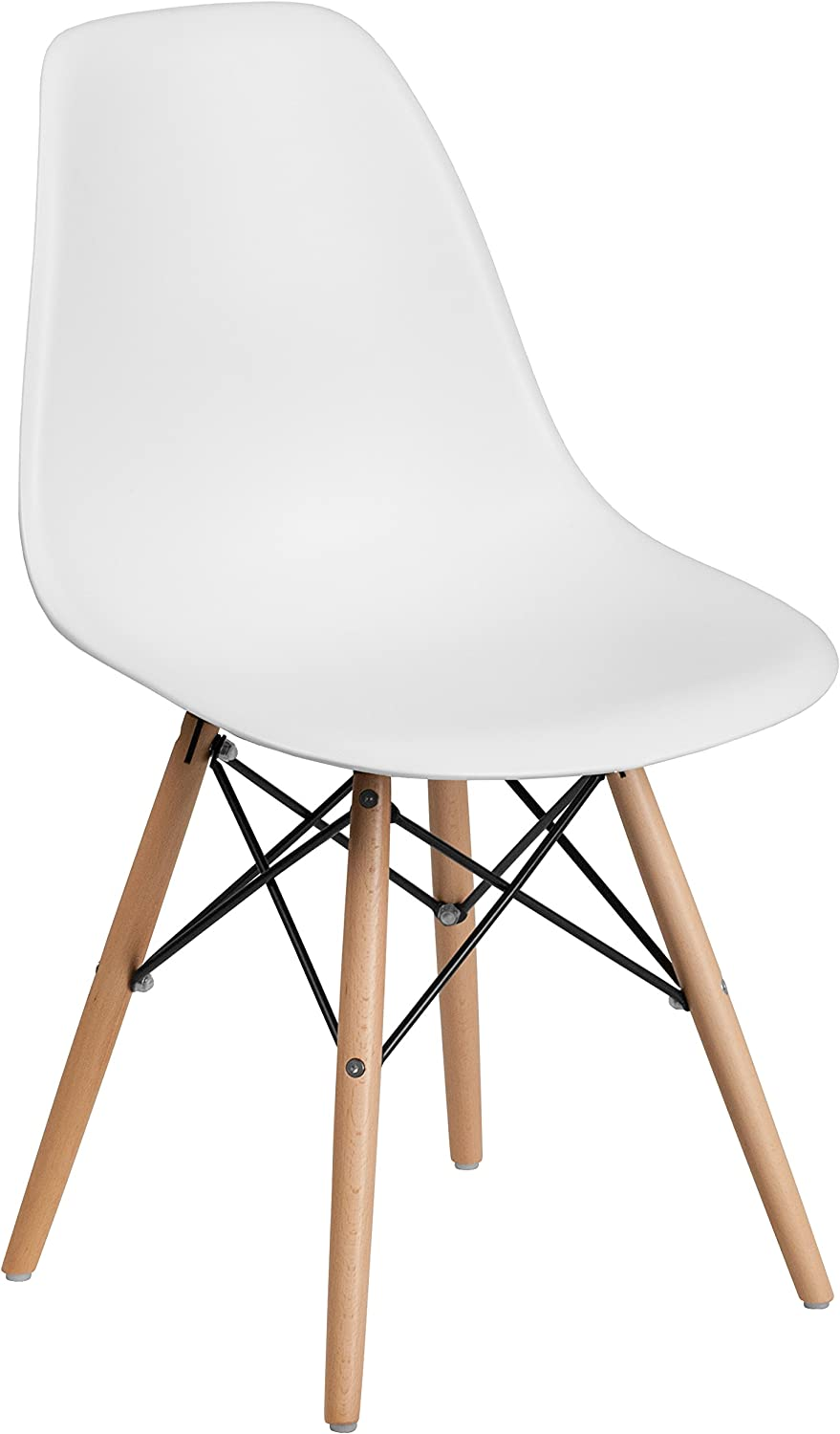 Flash Furniture Elon Series White Plastic Chair with Wood Base
