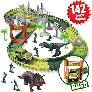MIECOO Slot Car Race Track Sets Dinosaur Car Toys Create a Road with 142 Pcs Flexible Tracks, 2 Dinosaurs, Perfect for 3 4 5 6 Years Old Boys Girls Toddlers Birthday Gifts