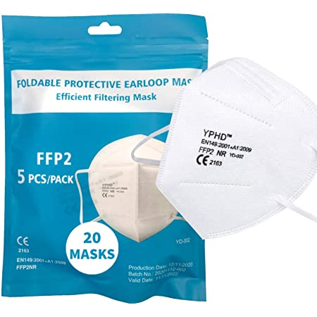 YPHD - 20 Mascherine FFP2 NR - Certificate CE 2163-5 Strati Filtri 95% - EN 149:2001 + A1:2009