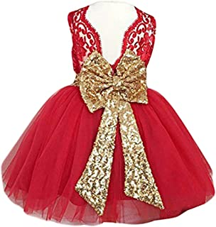 Newborn Baby Girls 1st Birthday Outfits Toddler Infant Sequins Bowknot Floral Princess Tutu Party Dresses