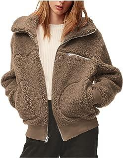 Women's Open Front Lapel Zipper Faux Fur Sherpa Jacket Fuzzy Coat