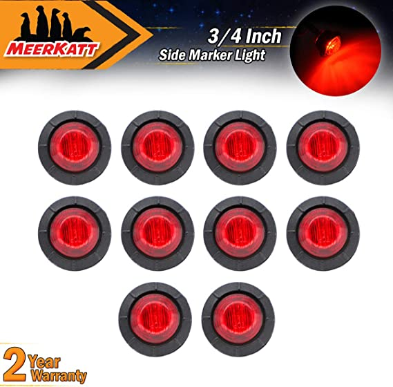 Pack of 10 2.3 Inch Oval Clear Lens 5 Amber /& 5 Red LED Surface Mount Indicator Lights Multi-Voltage Waterproof for Trailer Jeep Truck RV Lorry Cab Bus Camper Pickup 12V 24V DC Universal NG Meerkatt