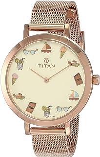 Titan Purple Pop Analog Off-White Dial Women's Watch-95104WM01 / 95104WM01