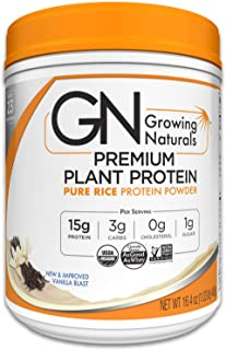 Growing Naturals | Organic Premium Plant Based Protein, Pure Rice Protein Powder | Vanilla Blast | Non-GMO, Vegan, Gluten-Free, Keto Friendly, Shelf-Stable | 1LB