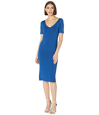 Three Dots Refined Jersey Open V-Neck Sheath Dress (Regal Blue) Women