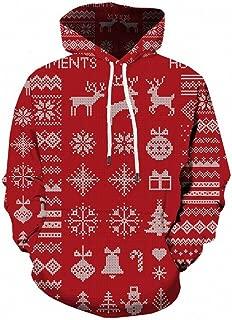 GDJGTA Hoodie for Mens Casual Christmas Funny 3D Print Party Long Sleeve Hoodie Top Blouse Coat