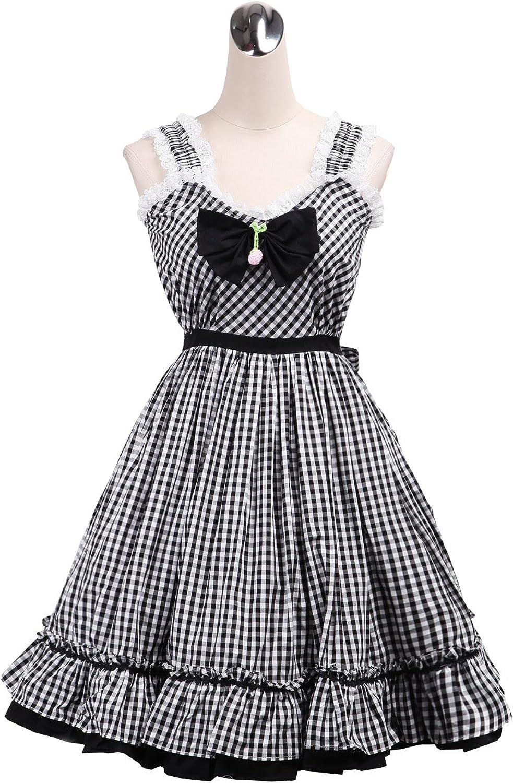 Antaina Black Plaid Cotton Ruffle Bow Sweet Sexy Lolita Cosplay Dress