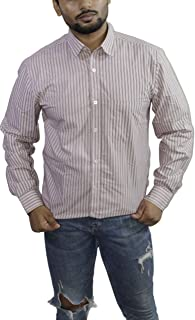 Spanish One Look Mens Casual Long Sleeve 100% Cotton Regular Fit Button Down Casual Shirts Dress in White Stripped Shirt for Men