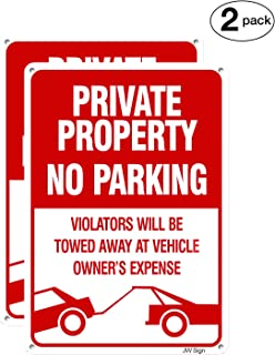 2-Pack No Parking Sign Private Property Sign Violators Will Be Towed Sign, 10x14inches Rust Free UV Printed Outdoor Metal Reflective Easy to Mount