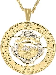 Costa Rican Pendant & Necklace, Hand Cut Costa Rican 20 Centavos