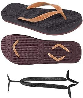 Boomerangz Regular Fit Flip Flops (Men's) Colour: Black/Burgundy + Interchangeable Straps (Additional) [Combo Offer]
