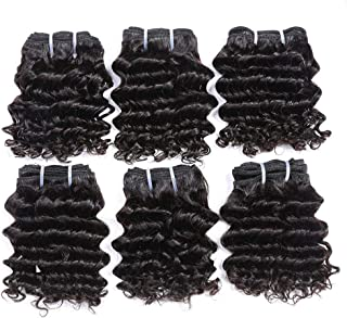 Chisu Peruvian Deep Wave Human Hair Weave Bundles 6 Inch Short-Cut Bob Style Remy Hair (3PCS is totally about 105grams) (3 pieces 6 inches) (6pcs 6inch+1 crown closure)
