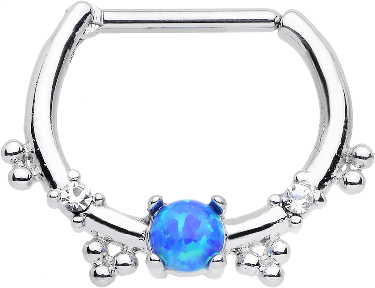 Body Candy Stainless Steel Blue Synthetic Opal Simple Septum Clicker 16 Gauge