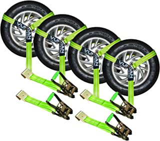 VULCAN High-Viz 2 Inch x 96 Inch Lasso Auto Tie Down with Flat Hooks - 3300 lbs. Safe Working Load, 4 Pack - Easily Trailer Any Car, Truck, SUV, Jeep, Or Sportscar
