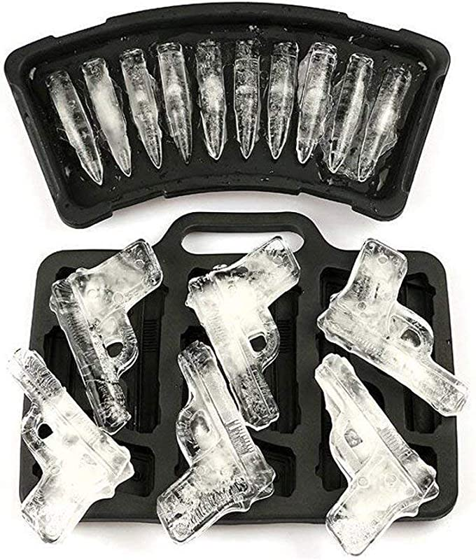 2 Pack Handgun And Bullet Ice Cube Trays Set MoldFun Cool TPR Pistol And AK47 Bullet Maker Molds For Whiskey Cocktails Ice Cubes Chocolates Jello Shots