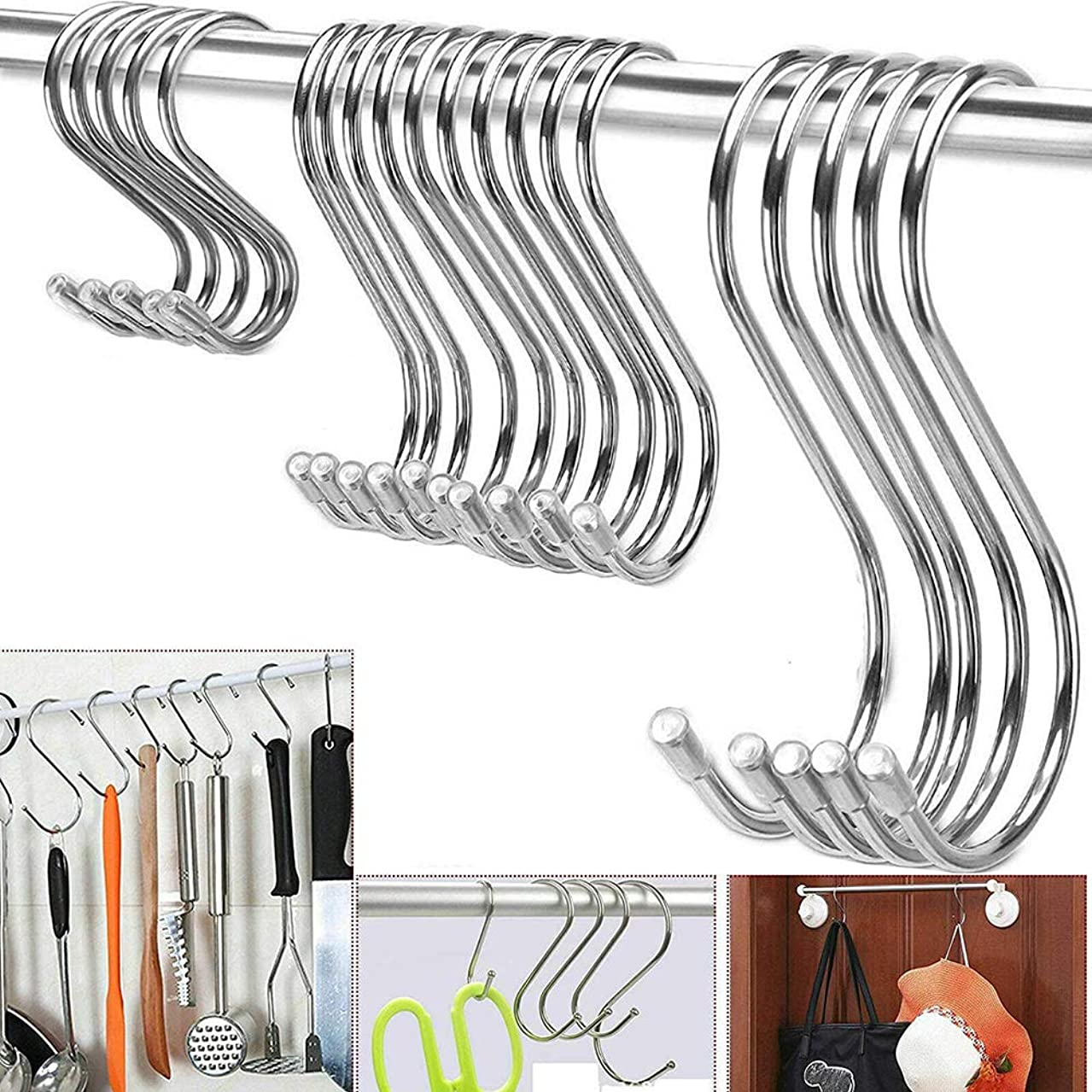 Stainless Steel Heavy Duty Hanging Hooks S Hook 10 Packs Set - Metal Utility Hooks for Home Storage Organization Pan Pot Holder Clothes Hanger (Silver, 3 Inch/Thicker)