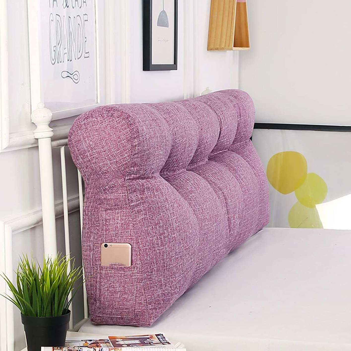 丘地雷原椅子GY ダブルソフトバッククッション ベッドサイドソファー枕、 サポート ホームオフィス 腰と安静を読む 屋内 - 屋外 多機能 洗える 5色、4サイズ (色 : 紫の, サイズ さいず : 180cm)