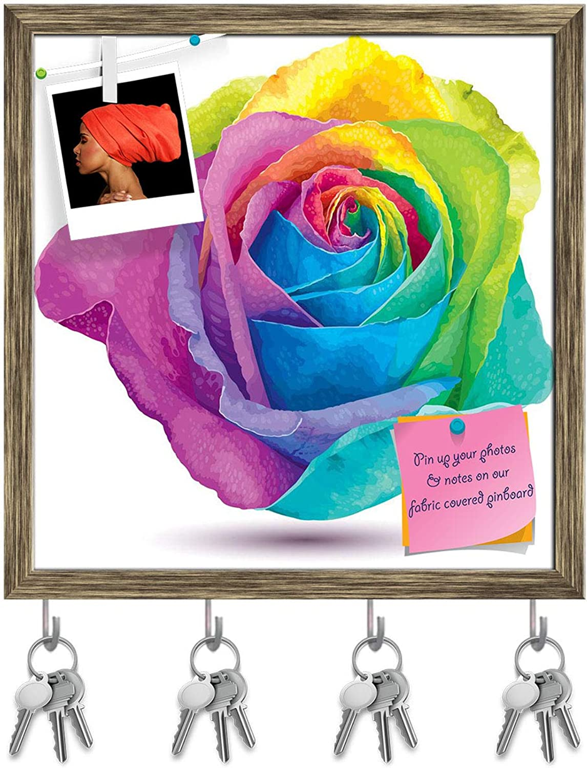 Artzfolio Futuristic colord pink Key Holder Hooks   Notice Pin Board   Antique golden Frame 16 X 16.4Inch
