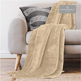 Gaveno Cavailia Super Soft Faux Fur Fleece Plain Throw Blanket, Biscuit, King, 200 x 240 cm