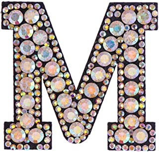1PC Beaded Rhinestone Patches A-Z Letter Alphabet Crystal Applique Sew On Iron On Diamante Patch Clothing Accessories(M)