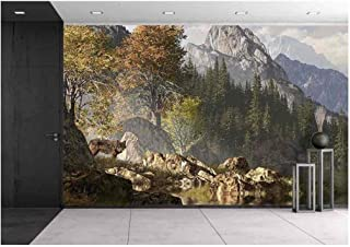 wall26 - Wolf Near a Lake in a Rocky Mountain Landscape. - Removable Wall Mural | Self-Adhesive Large Wallpaper - 100x144 inches