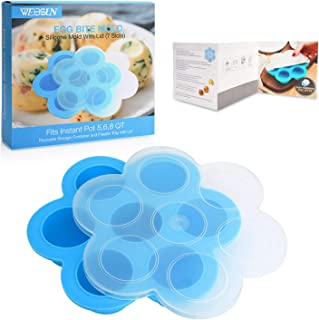 WEBSUN Silicone Egg Bites Molds for Instant Pot Accessories for 5,6,8 qt Pressure Cooker, FDA Approved Reusable Storage Container, Freezer Trays with Lid - with Recipe User Guide