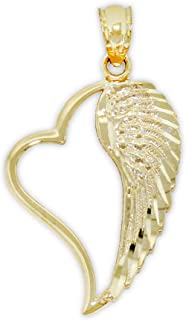 Gold Angel Wing Inside Heart Charm - 14 Karat Solid Gold