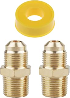 Timsec 2Packs Brass Propane Pipe Fitting, 3/8