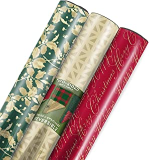 Hallmark Christmas Reversible Wrapping Paper, Traditional Foil (Pack of 3, 60 sq. ft. ttl.)