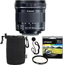 Canon EF-S 10-18mm f/4.5-5.6 is STM Lens + Polaroid 67mm UV Filter + Ritz Gear Medium Neoprene Protective Pouch for DSLR Camera Lenses & Lens Cap Strap