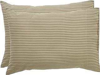 VHC Brands Farmhouse Bedding Prairie Winds Ticking Stripe Tan Pillow Case Set of 2, Standard
