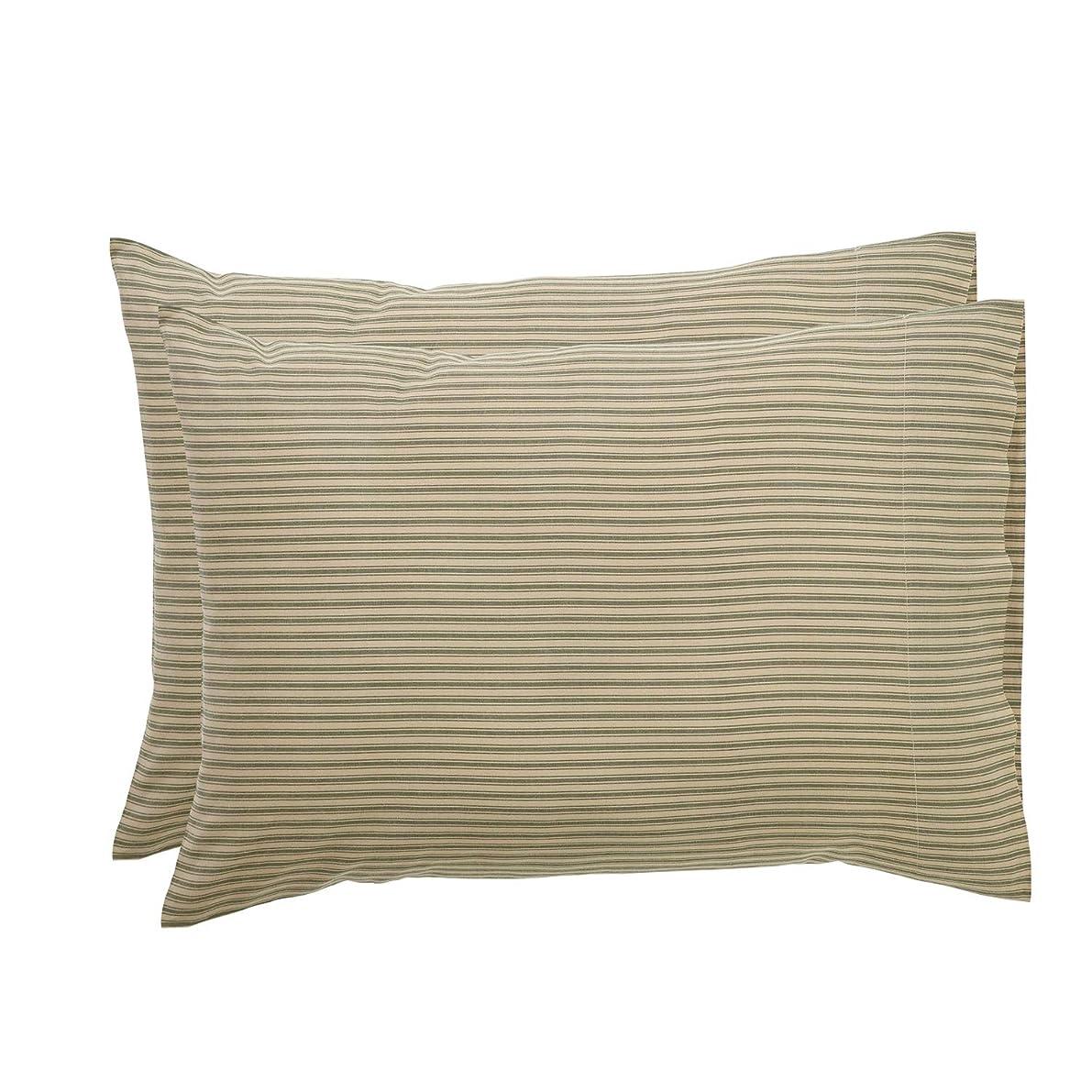 VHC Brands Farmhouse Bedding Prairie Winds Ticking Stripe Tan Pillow Case Set of 2,