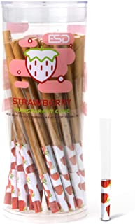 Cyclones Strawberry Flavored Pre Rolled Clear Cones | 50 Pack | Natural Cellulose Prerolled Ready to Pack with Packing Sticks and Tips Included