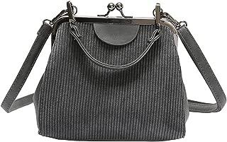 Striped corduroy women retro Shell handbag tote handbags
