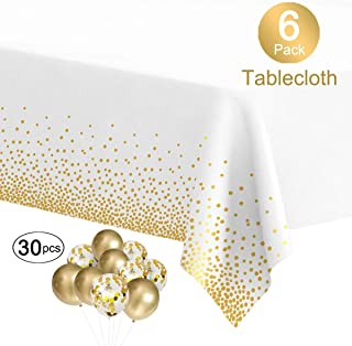 MOOXY Plastic Tablecloths for Rectangle Tables, 6 Pack Disposable Party Table Cloths, Gold Dot Confetti Table Covers with 30 Balloons for Birthday Parties Wedding Anniversary Baby Shower, 54